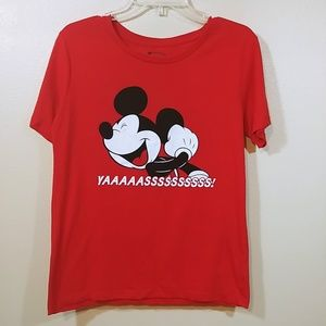 Disney Mickey Mouse Red Tee shirt YAAAASSSS sz. Lg